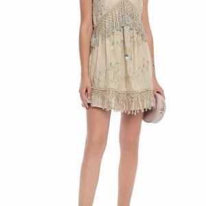 Love Sam embroidered Mini dress with fringe